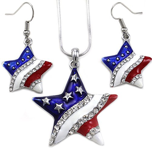 Patriotic Jewelry (USA American Flag Stars Patriotic 4th of July Independence Day Pendant Necklace & Dangle Earrings Set)