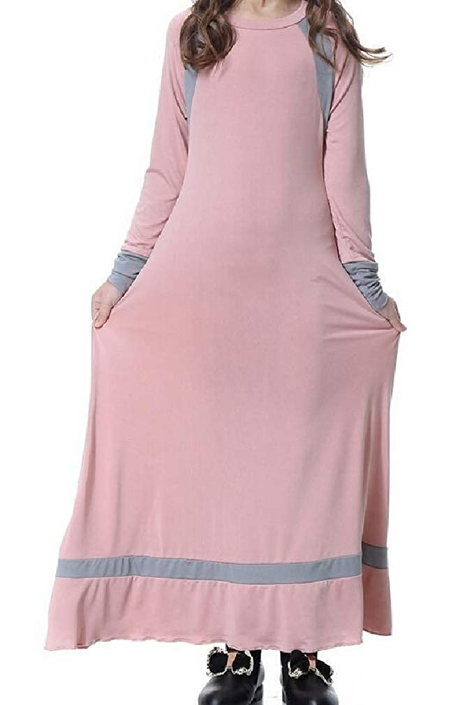 Sayhi-CA Big Girls Long Sleeve Gown Abaya Dubai Middle East Muslim Gown Dress