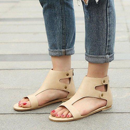 Playa Cómodo Bohemia Mujer Planas y Las Chanclas Zapatos Sandalias Elegante de Bailarinas Sandalias Beige de Cordones Roman Verano Y Moda Cuero ASHOP De Zapatillas xR4w6q4