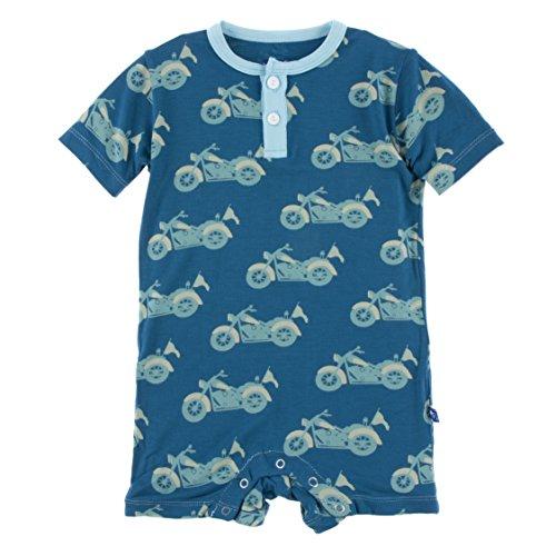 (Kickee Pants Little Boys Print Short Sleeve Henley Romper - Heritage Blue Motorcycle, 18-24 Months)