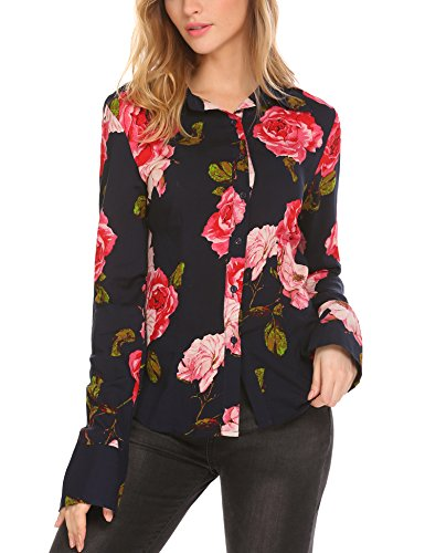 Button Cuff Floral Blouse - SE MIU Women Long Sleeve Casual Button Down Floral Print Shirt Blouse Tops