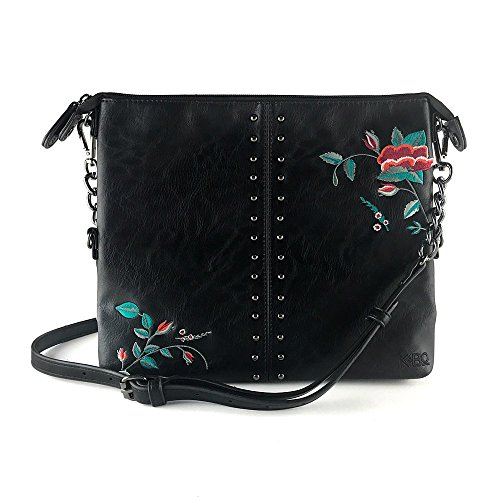 Stud Cross Body (K&Bo Women's Cross Body Bag and Clutch, Black Studs with Floral Embroidery)
