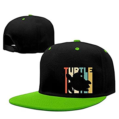 Adult Retro Style Turtle Silhouette Hiphop Flat Bill Snapback Hats Plain Cotton Baseball Cap for Girls