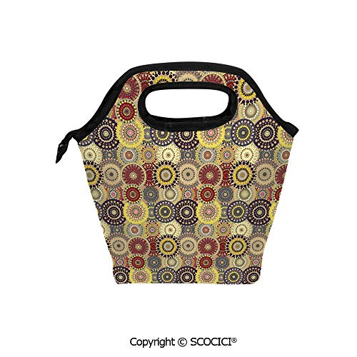 - Insulation portable lunch box bag Vintage Pattern with Vivid Colorful Painted Circles and Dots Ethnic Seventies Style Decorative Soft Fabric lunch bag Mummy bag.