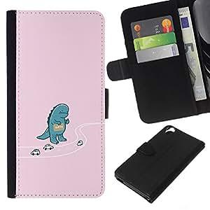 KLONGSHOP // Tirón de la caja Cartera de cuero con ranuras para tarjetas - Autostop Godzila divertido - HTC Desire 820 //