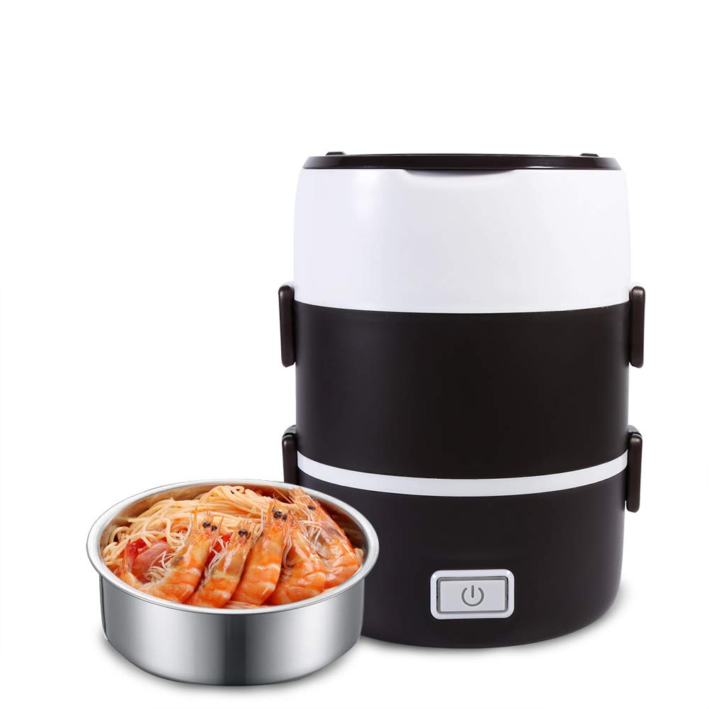 Electric Food Steamer, Portable Heating Lunch Box Steamer, 3 Tier Electric Heated Heating Lunch Box Set Food Warmer Container Bento Portable 220V, Stainless Steel Bowls, Removable Container