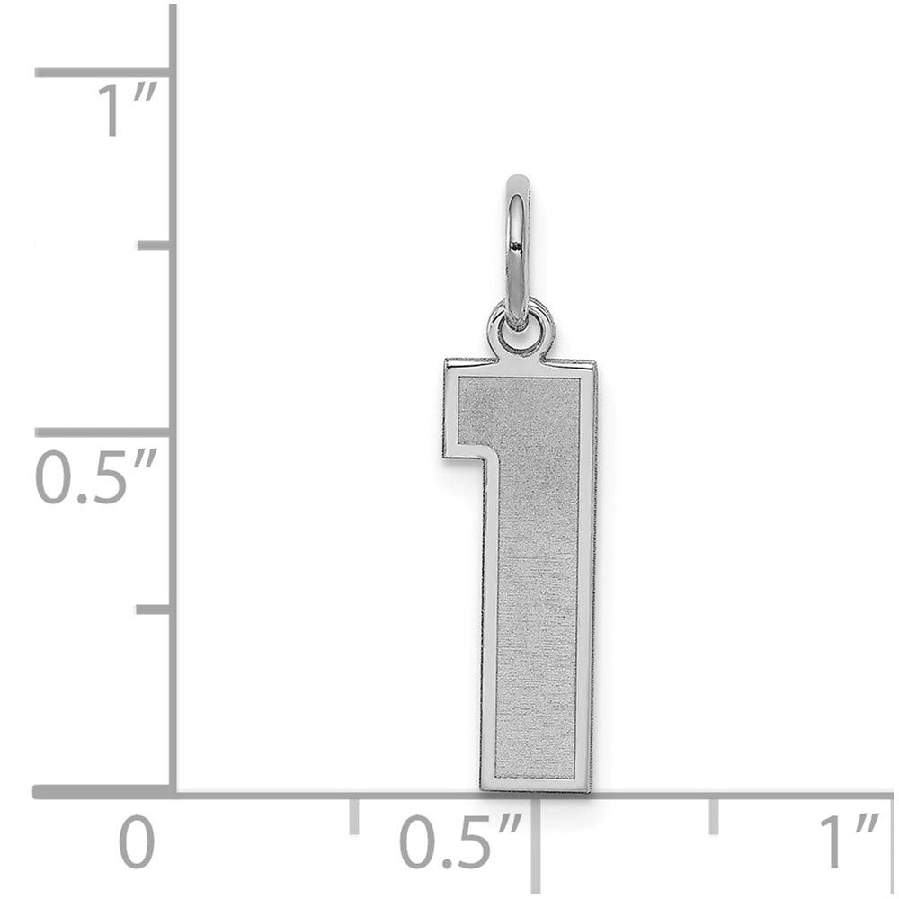 22mm x 9mm 925 Sterling Silver Medium Satin Number 1
