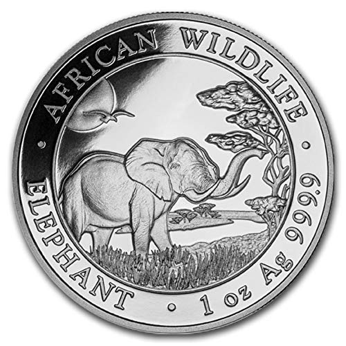 Germany Silver Coin - 2019 DE Somalia African Elephant - 1 oz pure Silver Coin $5 Brilliant Uncirculated CA