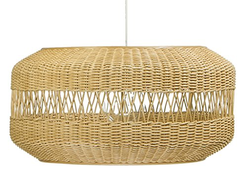 KOUBOO 1050074 Open Weave Candy Wicker Pendant Lamp, 19.25″ x 19.25″ x 9.75″, Natural Brown Review