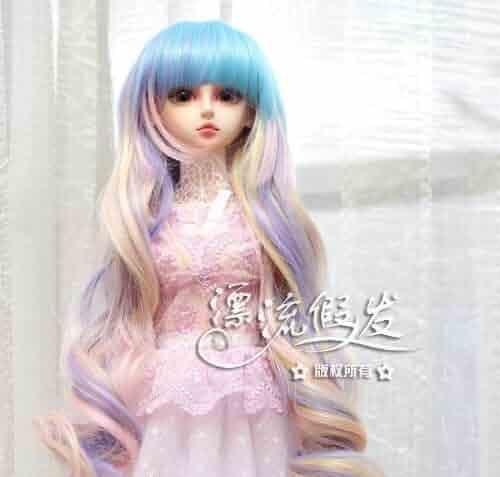 Purple Middle Long Hair Wig For 1//4 MSD AOD DZ BJD Dollfie 18-19cm PF