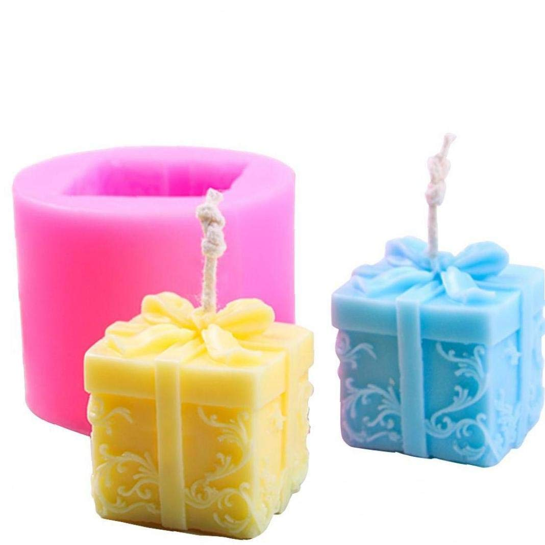 Aisoway 3D-Kerze Silikon-Form Kasten-Form-Seife Aroma-Kerze-Form-Fertigkeit-Werkzeug-Kuchen-Schokoladen-Kunst-Form-Geburtstags-Geschenk