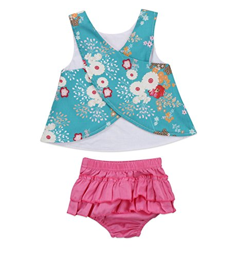 Rush Dance Baby Toddler 2 Pc Tank Swing Top & Ruffle Diaper Cover Pants Outfit (110 (18-24 Months), Turquoise Floral Top with Pink Bottom)