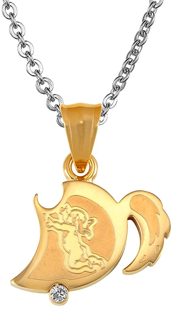 ANAZOZ Stainless Steel Necklaces Womens Chain Pendant CZ Cupid Kama Kiss Engraved Golden