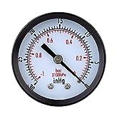 Pressure Gauge - TOOGOO(R)Pressure Gauge - 0 ~ -30inHg 0 ~ -1 bar Mini Dial Air vacuum pressure gauge pressure gauge pressure gage vacuum manometer dual scale Black