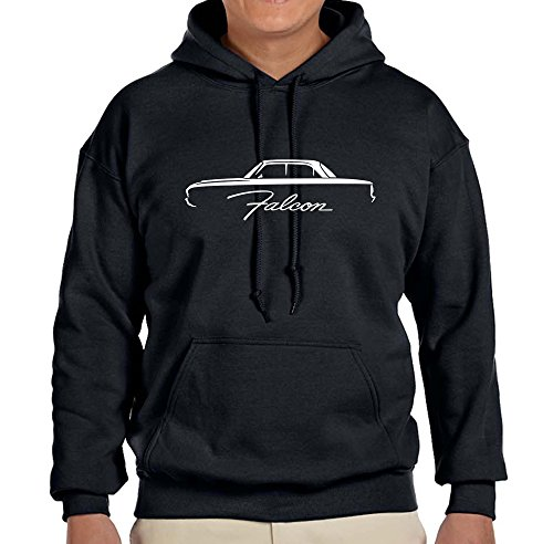 (1960-63 Ford Falcon Coupe Classic Outline Design Sweatshirt Hoodie large black )