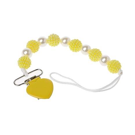 MIsha Cadena chupetes Hecho a mano perlas princesa bebé chupete/pezones / maniquí/chupeta chupete(Amarillo)