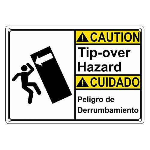 Weatherproof Plastic ANSI CAUTION Tip-Over Hazard - Peligro De Derrumbamiento Sign with English & Spanish Text and Symbol by SignJoker