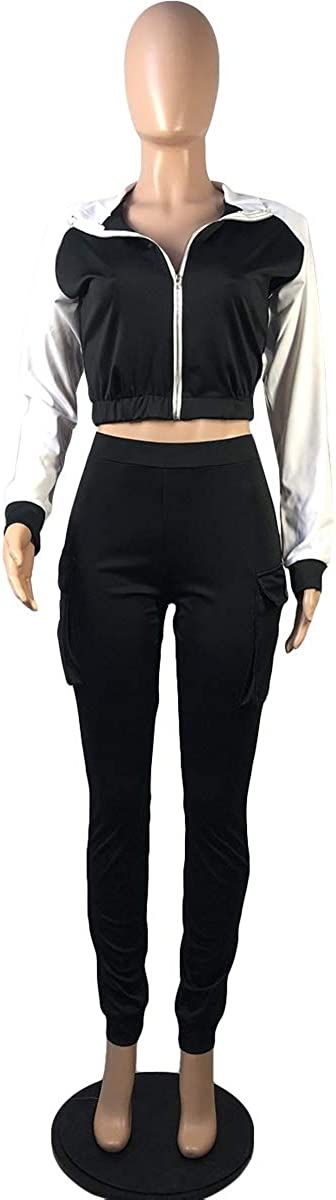 Sweatsuits for Women 2 Piece Workout Long Sleeve Zip Up Jacket Tops Sweatpants Jogger Set Yoga Sports Outfits Clubwear