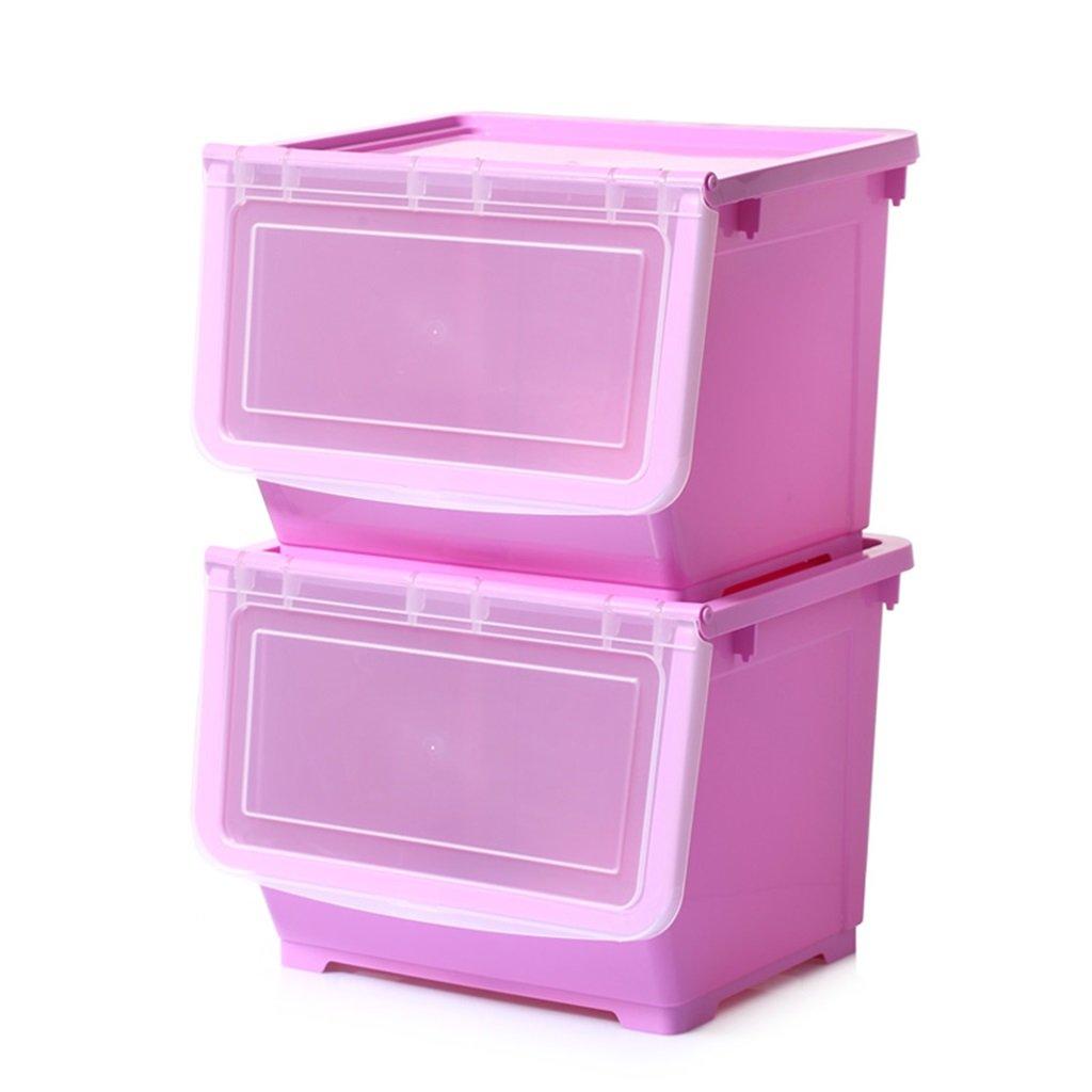 Rack shelf Extra Large Plastic Kitchen Side Open Storage Box Storage Basket Clothes Kids Toys Snacks Finishing Box Storage Box ( Color : Purple )