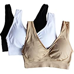 Cabales Women's 3-Pack Seamless Wireless Sports Bra with Removable Pads, Black/White/Nude, XX-Large