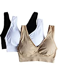 Cabales Women's 3-Pack Seamless Wireless Sports Bra with...