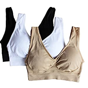 Cabales Women's 3-Pack Seamless Wireless Sports Bra with Removable Pads