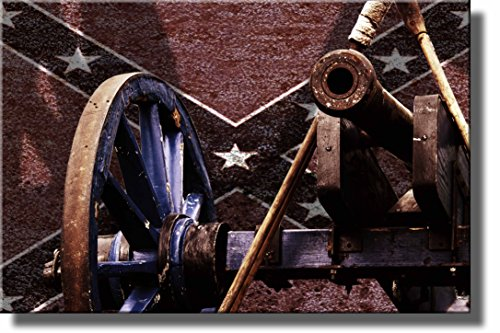(Civil War Cannon Picture Made on Wood, Wall Art Decor Ready to Hang.)