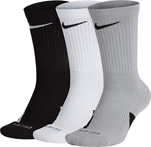NIKE Elite Basketball Crew Socks 3 Pack (Black/White/Wolf Grey, Large) (Nike Youth Elite Basketball Socks)