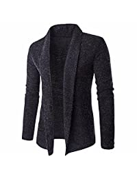 Men's Solid Color Thick Shawl Collar Warm Cardigan Knitted Sweater
