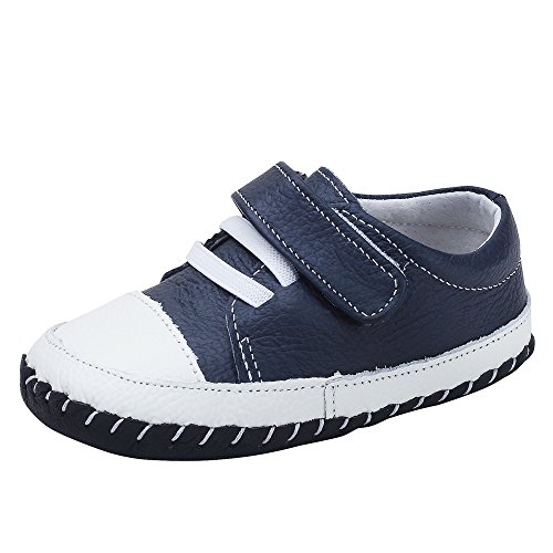 Kuner Infant Baby Boys Girls Genuine Leather Soft Bottom Non-Slip First Walkers Shoes (13.5cm(18-24months), Dark Blue) (Leather Soft Boys)