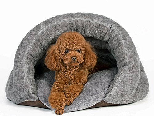 PLS Birdsong The Original Cuddle Pouch Pet Bed (Medium), Dog Cave, Covered Hooded Pet Bed, Cosy, for Burrower Cats and Dogs, Gray