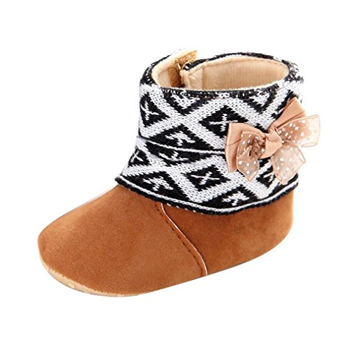 Gotd Baby Toddler Infant Girls Snow Boots Soft Sole Prewalker Crib Shoes (6~12 Month Length:4.7