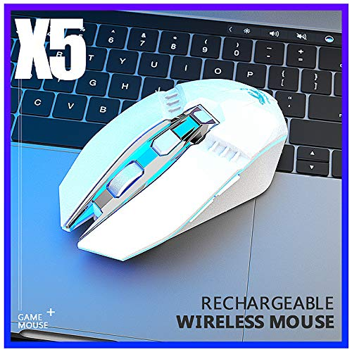Alician X5 Wireless Gaming Mouse Rechargeable 500mAh Battery Bluetooth 3.0+5.0+2.4G Wireless Optical Mice Adjustable DPI Levels for Laptop PC Mac White
