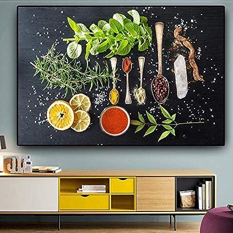 Vegetables Fruits Cereals Spices Kitchen Canvas Cuadros Scandinavian Poster And Prints Wall Art Picture Living Room No Frame Size 60 X 90 Cm No Frame Amazon De Kuche Haushalt