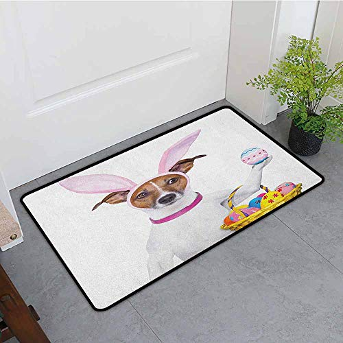 ONECUTE Doormat,Easter Dog Dressed up as Easter Bunny