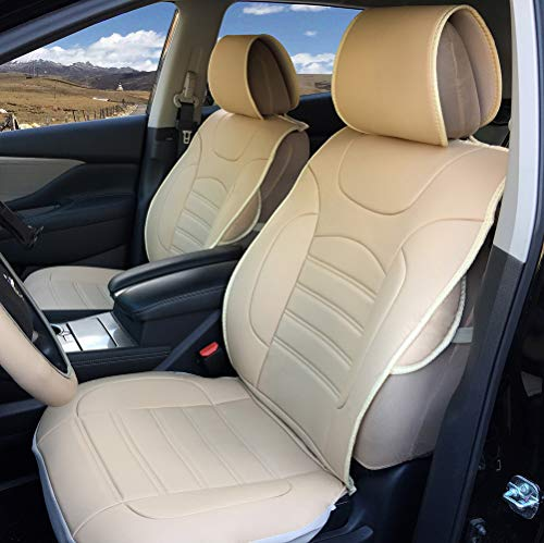 Protech Auto 2 Front Car Seat Cover Cushions Fit for Cadillac ATS ELR CT6 CTS XTS XT5 SRX Escalade/ESV, Ultra Comfort Synthetic Leather, Airbag Compatible, Non-Slip Seat Protector 1802-11 Tan