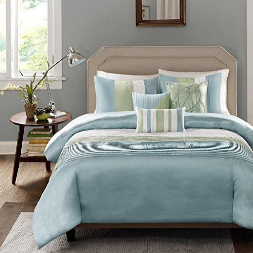 6 Piece Blue Green Striped King Size Duvet Cover Set, Horizontal Stripes Cabana Stripe Beach Theme Bedding Sleek Trendy Rugby Lake House Cottage Nautical Cohesive, Polyester (Bedding King Theme Beach Sets)