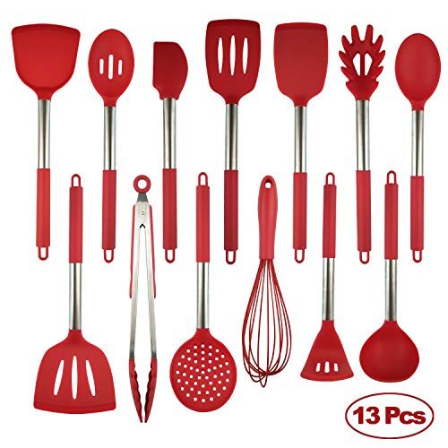 Silicone Utensils Resistant Stainless Red 13pcs
