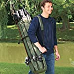 Fishing Bag Portable Fishing Pole Bags Thickening Canvas Fishing Rod Large Capacity Fishing Rod Tackle Bag Waterproof Olive