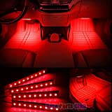 Car Interior Lights,Auto Parts Club 4pcs 12V Led Car Interior Lights/Car Atmosphere Light,Waterproof Glow Neon Light Strips Styling Interior Dash Floor Foot Decoration Light Lamp(Red)