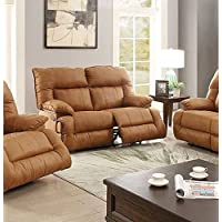 Leatherette Reclining Loveseat In Camel Brown