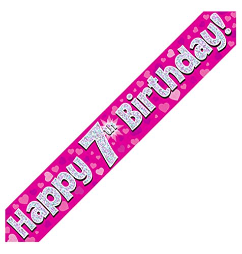 MA ONLINE Blue Pink Holographic Happy Birthday Banner Birthday Party Decoration Accessory Pink 7th