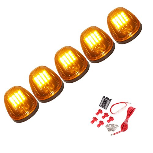 (5 Pcs Amber Lens 16 Amber LED Cab Marker Clearance Light Roof Running Light Assembly For 2003 - 2016 Dodge Ram 1500 2500 3500 4500 5500)