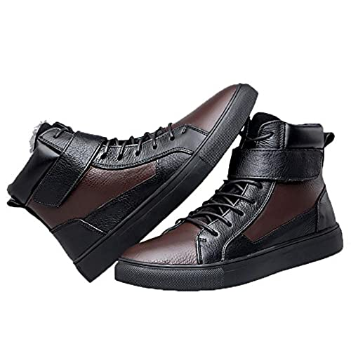 e70dc1b07e3 SYYAN Men  s Winter Leather Keep Warm Magic Stickers High Top Boots Outdoor  Black Brown