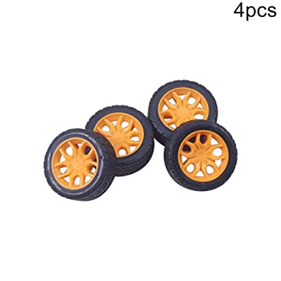 MroMax 30mm Rubber Toy Car Wheel Tires DIY Model Robots 4pcs Good Wear Resistance Yellow and Black: Toys & Games
