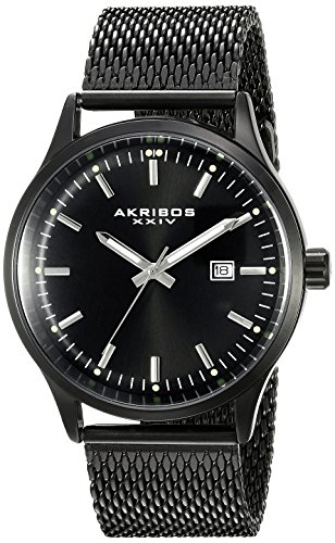 Akribos XXIV Men's AK901BK  Round Black Radiant Sunburst Dial Three Hand Quartz Movement Bracelet Watch