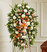 1-800-Flowers – Deepest Sympathy Standing Spray-Peach/Orange/White – Large