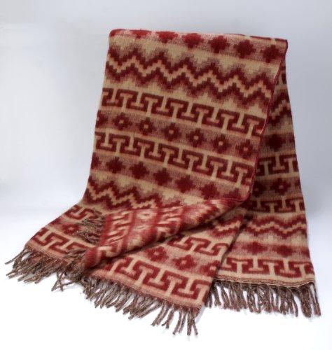 Soft Light Fair Trade Classic Brush Alpaca Maroon Burgundy Blanket Reversible Throw NWT (Classic Handcrafted Wool)