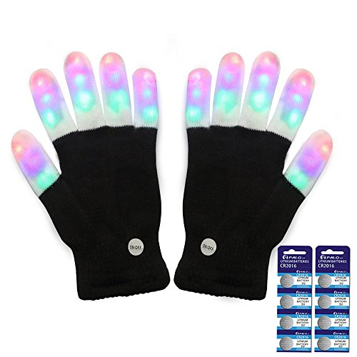 Amazer Light Gloves Finger Light Flashing LED Warm Gloves Lights Gloves Christmas Birthday Light Show Party Xmas Gift - Extra a set of Batteries for More Fun