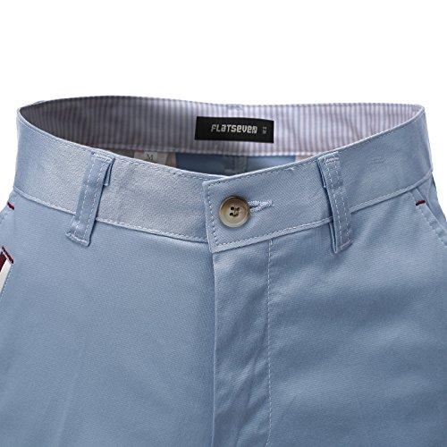 FLATSEVEN Mens Slim Fit Chino Short Pants Trouser Premium Cotton Blend (CH198S) LightBlue, Size M